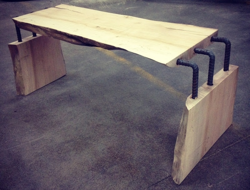 Live edge maple coffee table with steel rods elbow