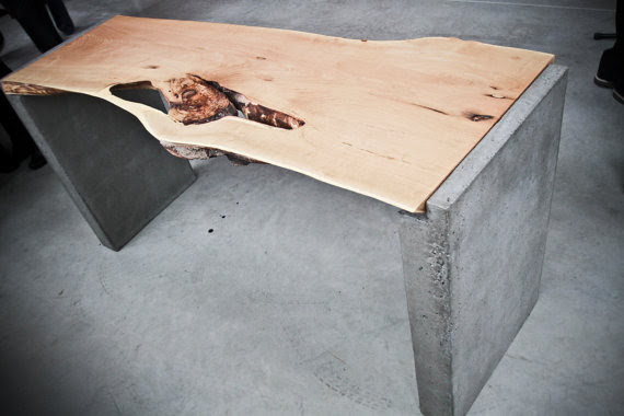 Live edge office desk on concrete legs