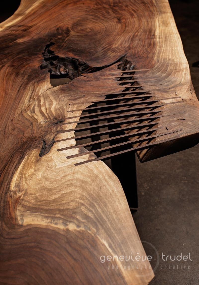 Live Edge black walnut dining table Rip Cage