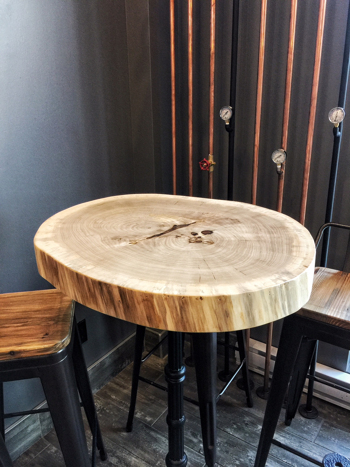 Round maple high table