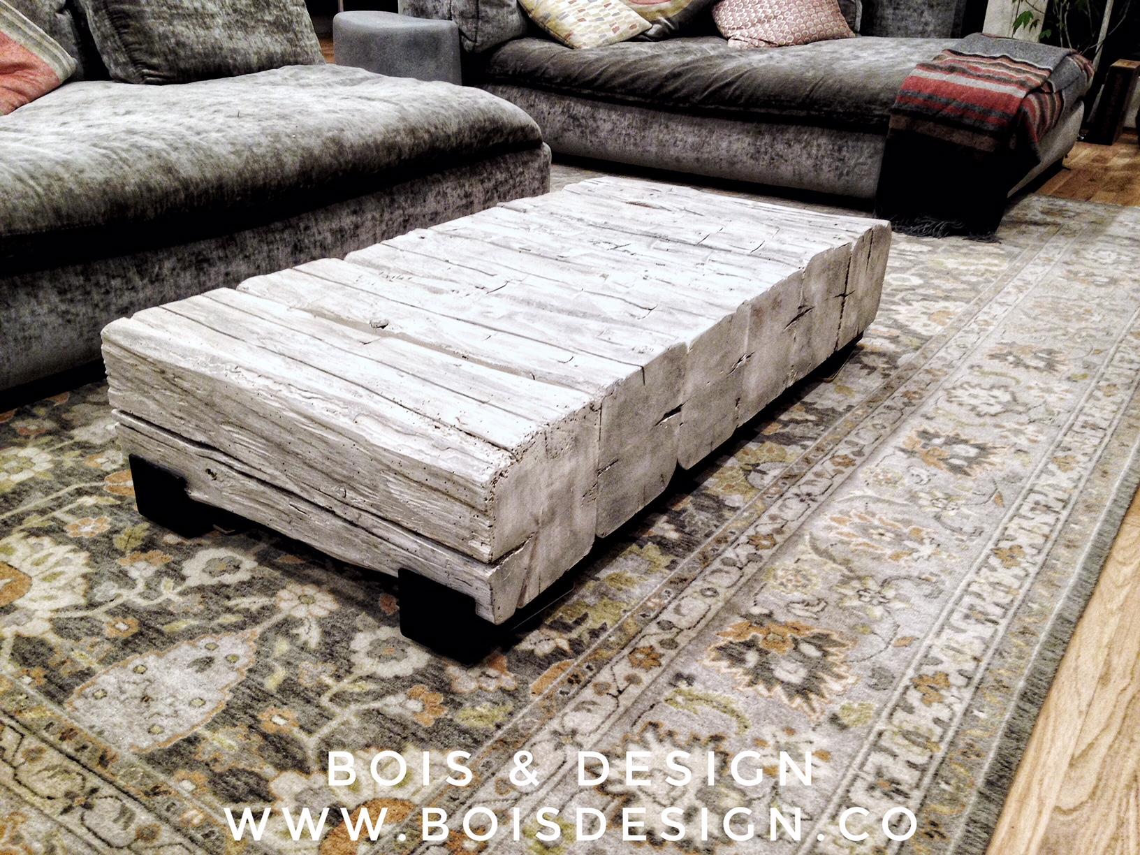 Reclaimed wood beams coffee table