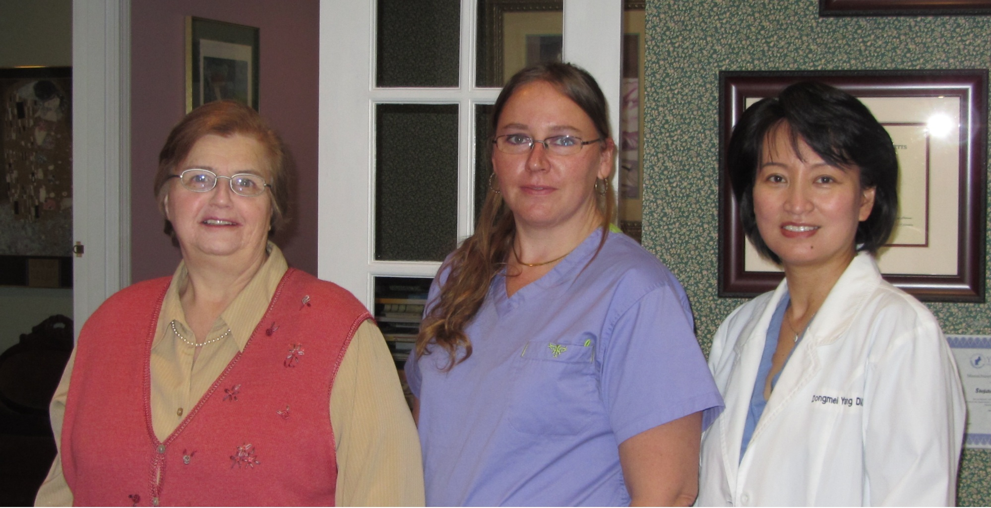 Our Team: from left: Susan (Office Manager), Holli (Dental Assistant), Dr. Yang (Owner, Dentist)