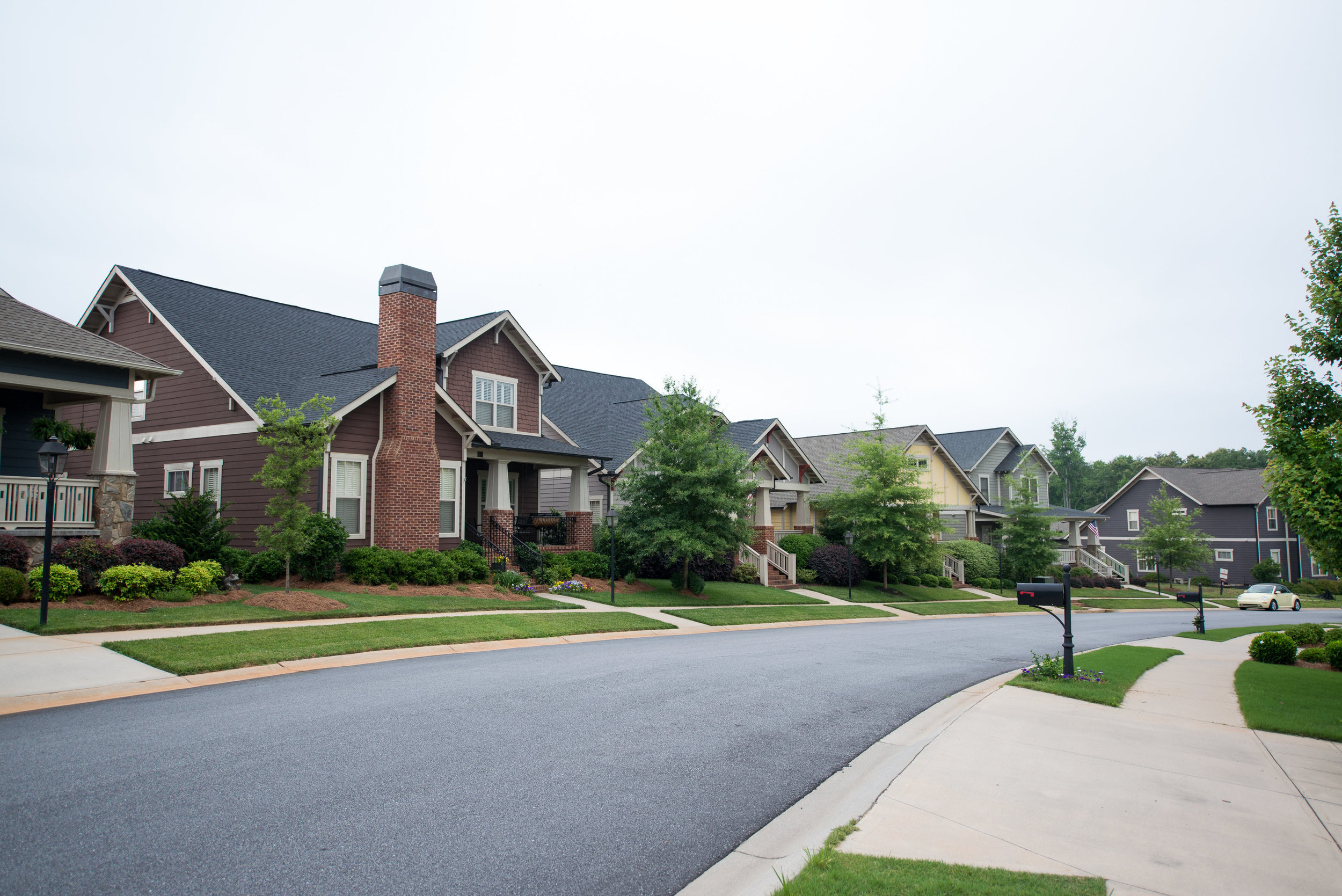 Typical TRG Community 24ft-wide safe street and generous sidewalks. Carilion: Greenville, SC