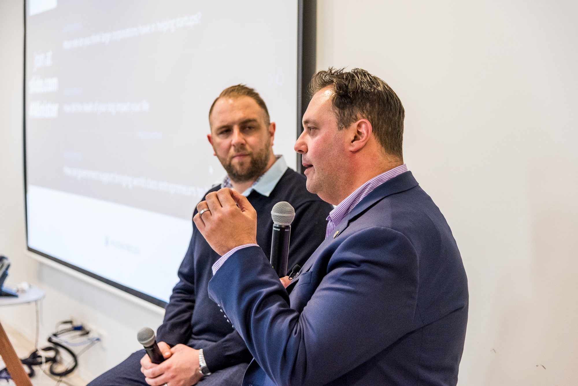The Hon. Philip Dalidakis, Minister for Small Business, Innovation and Trade with Chris Joannou, Startup Grind Melbourne Director on 24 August 2016  (Source: Startup Melbourne)