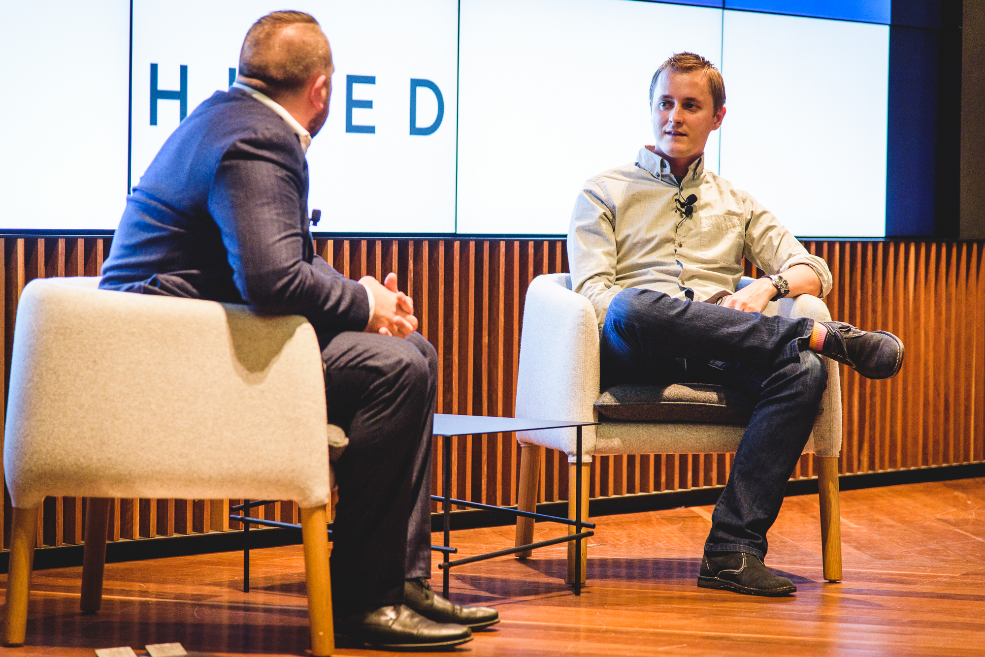 Hired co-founder Matt Mickiewicz speaking with Startup Grind ANZ director Chris Joannou  (Image: Startup Melbourne)