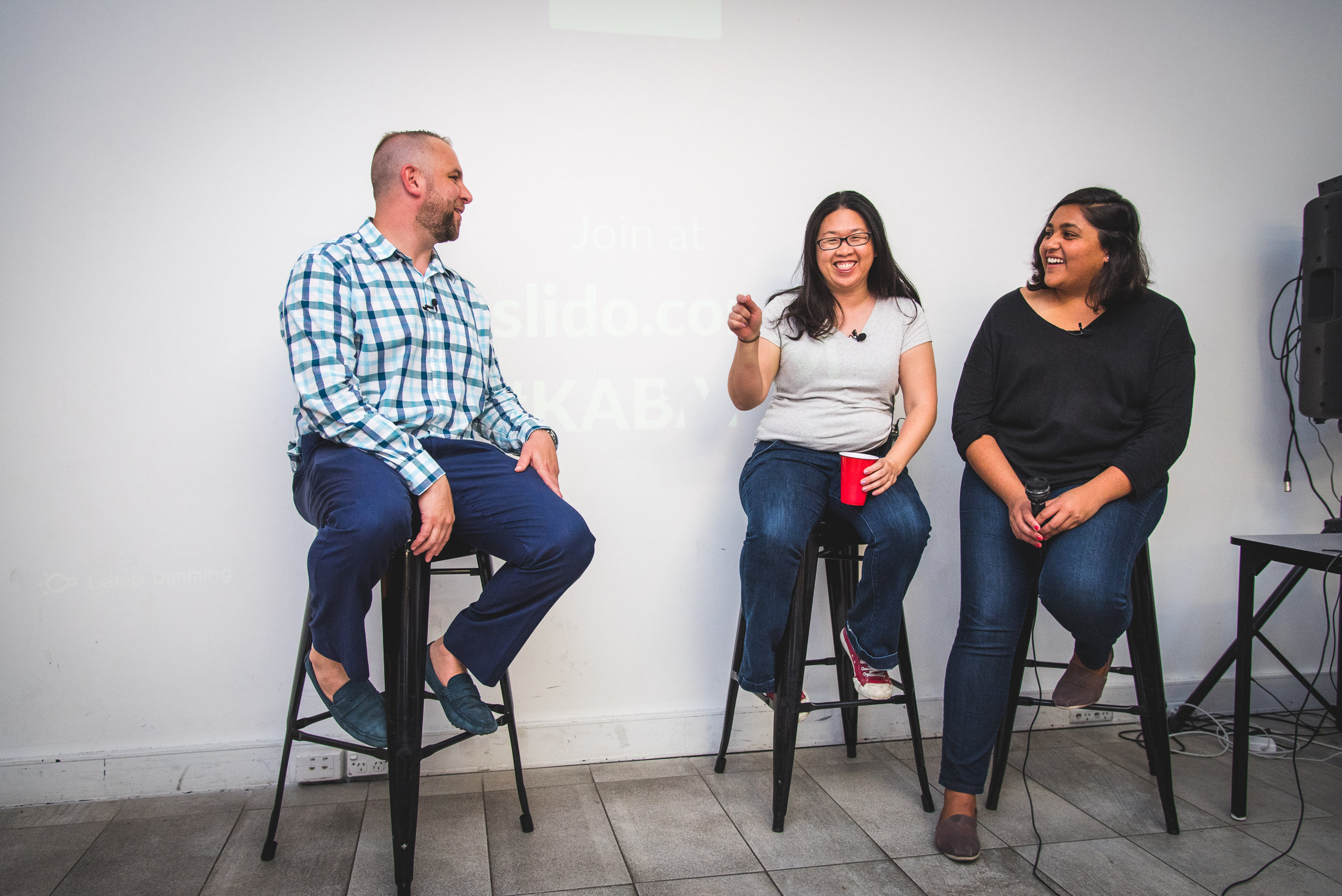 Startup Grind host Chris Joannou interviewing Holly and Shruti  (Photo credit: Alyatau Photography)
