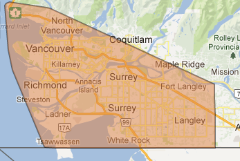 Even though Fighting Fit is based in Surrey BC and out of the SALUS Complex on 66th and Scott Road, w    e can and do cover all areas shown on the map.