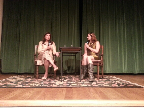 The lovely and eloquent Cyan James interviewing me last night at the Words on Water Festival