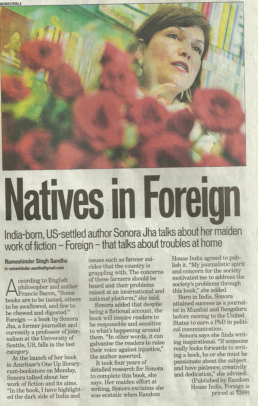An article about Foreign and Sonora Jha in The Hindustan Times
