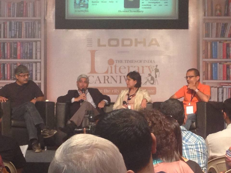 Moderating a panel on the craft of writing, with (from L to R) Shovon Chowdhury (A Competent Authority), Vikas Swarup (Q&A/Slumdog Millionnaire), and Akhil Sharma (The Obedient Father, Family Life).
