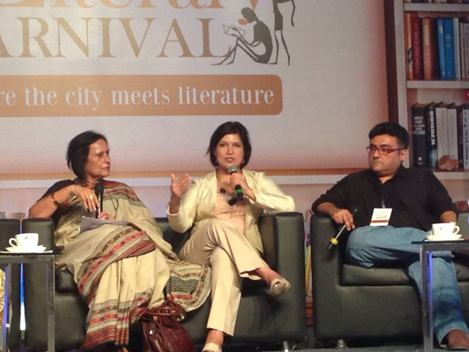 Speaking on a panel on writing about and living out marriage. With Madhu Jain, Nandini Krishnan (not in photo) and Fahad Samar.