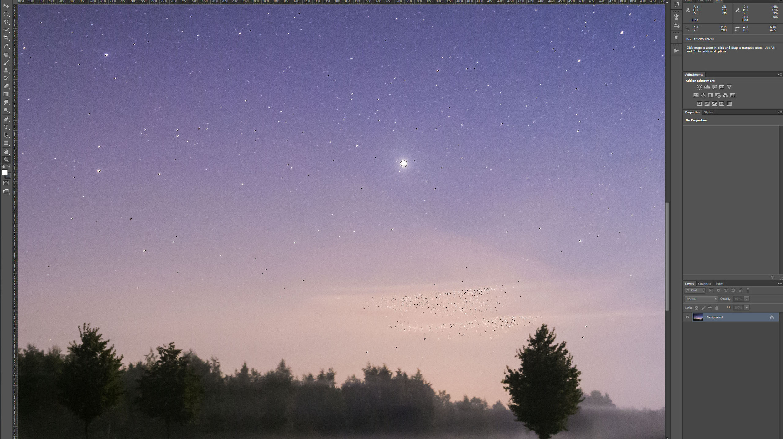 Step two in Photoshop - Boost up the Stars - Selection Done