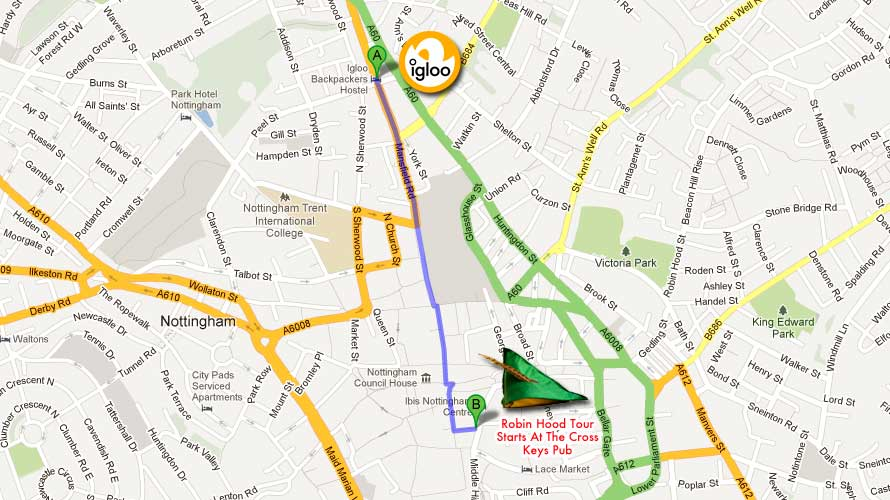 The Robin Hood Town Tour starts at The Cross Keys Pub (click on the map to open on Google Maps).