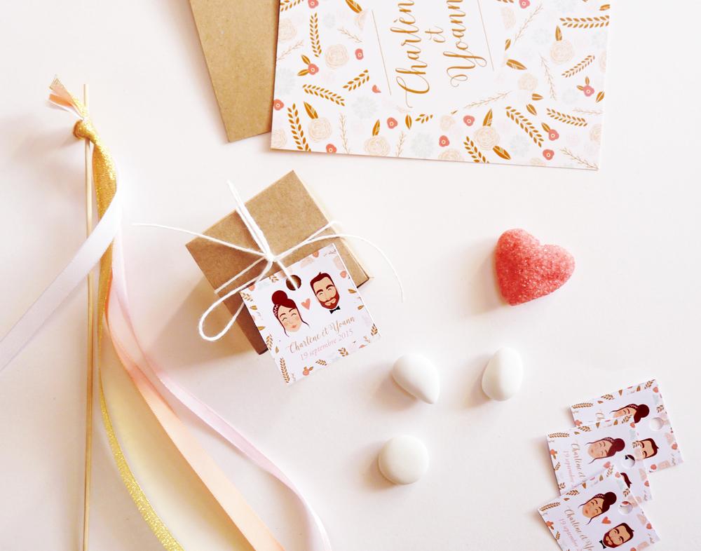 Étiquettes dragées mariage - Charlène Girodet