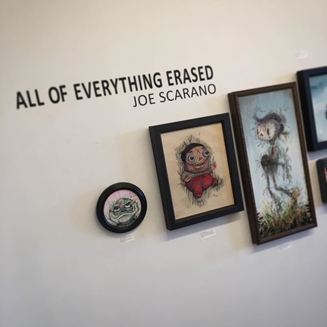 The show opens tonight at 6PM! Come by and check it out if you're in #ABQ.  Huge thanks to my wife @marci.kim for helping me ship it all out on time and generally for being awesome and fun to be around.  #strangerfactory #joescarano #allofeverythingerased #popsurrealism #lowbrowart #artgallery #johnpaulgutierrez