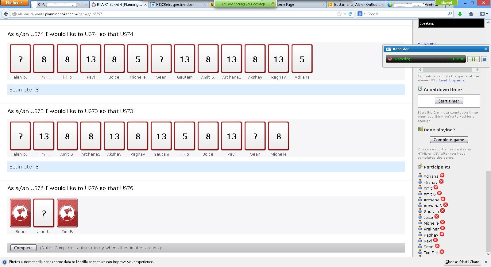 Team members estimating stories in planningpoker.com