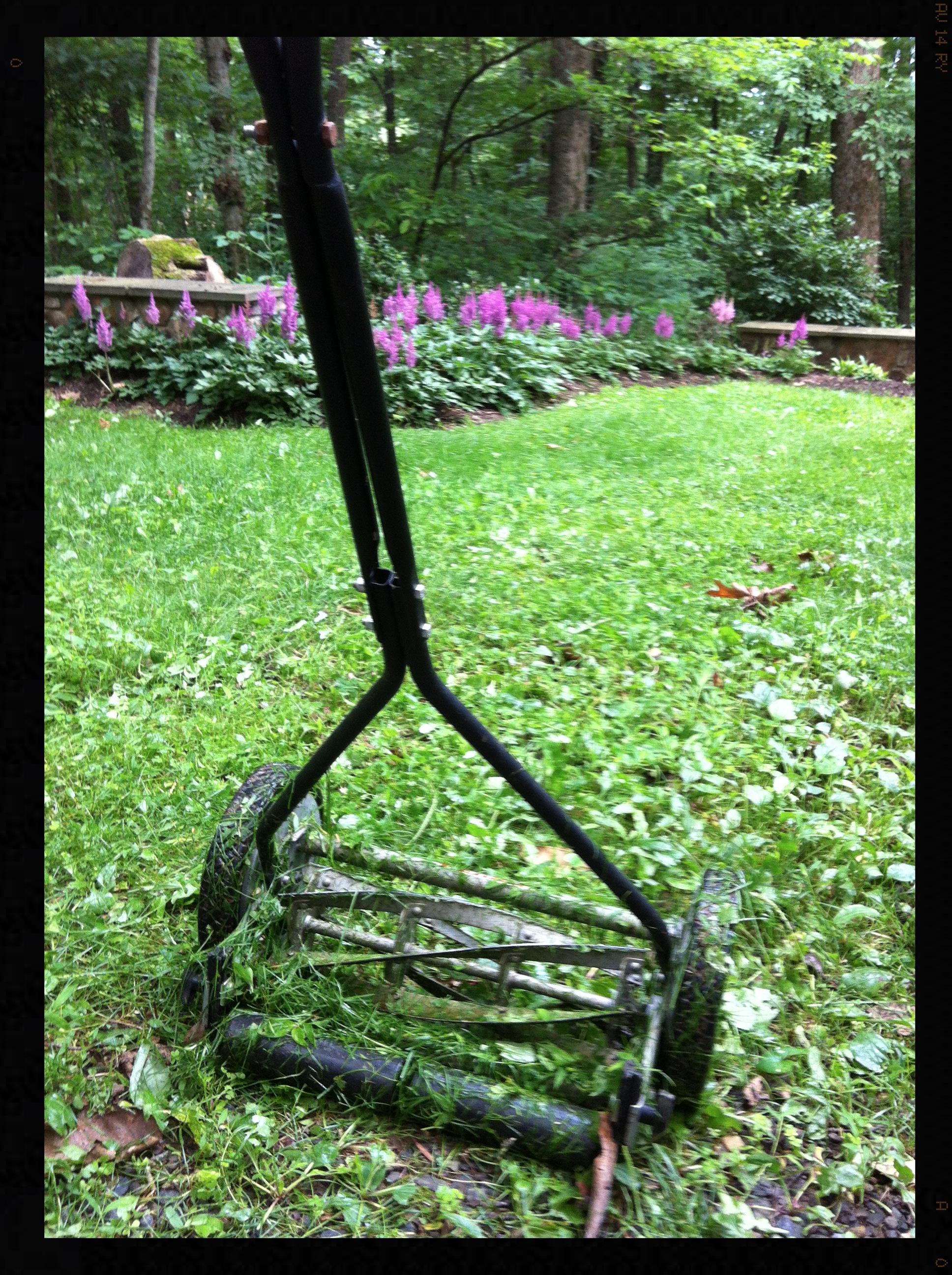 My reel mower at Sweetspire.  Linden, VA  Photo by - Garth Woodruff