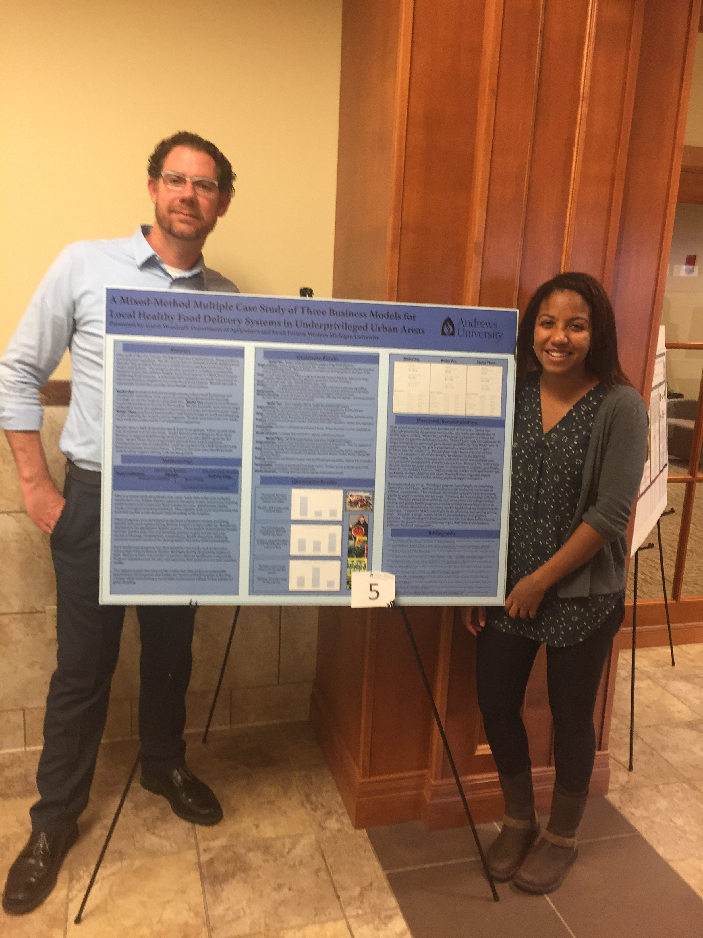 Research Poster - 2017 Michigan Academy of Science, Arts & Letters poster presentation. This is me with our Mobile Market Manager Sarah Forrest. Also presented at the 8th Annual Andrews University (2016) Celebration of Research & Creative Scholarship Event. See the published Abstract at MASAL.
