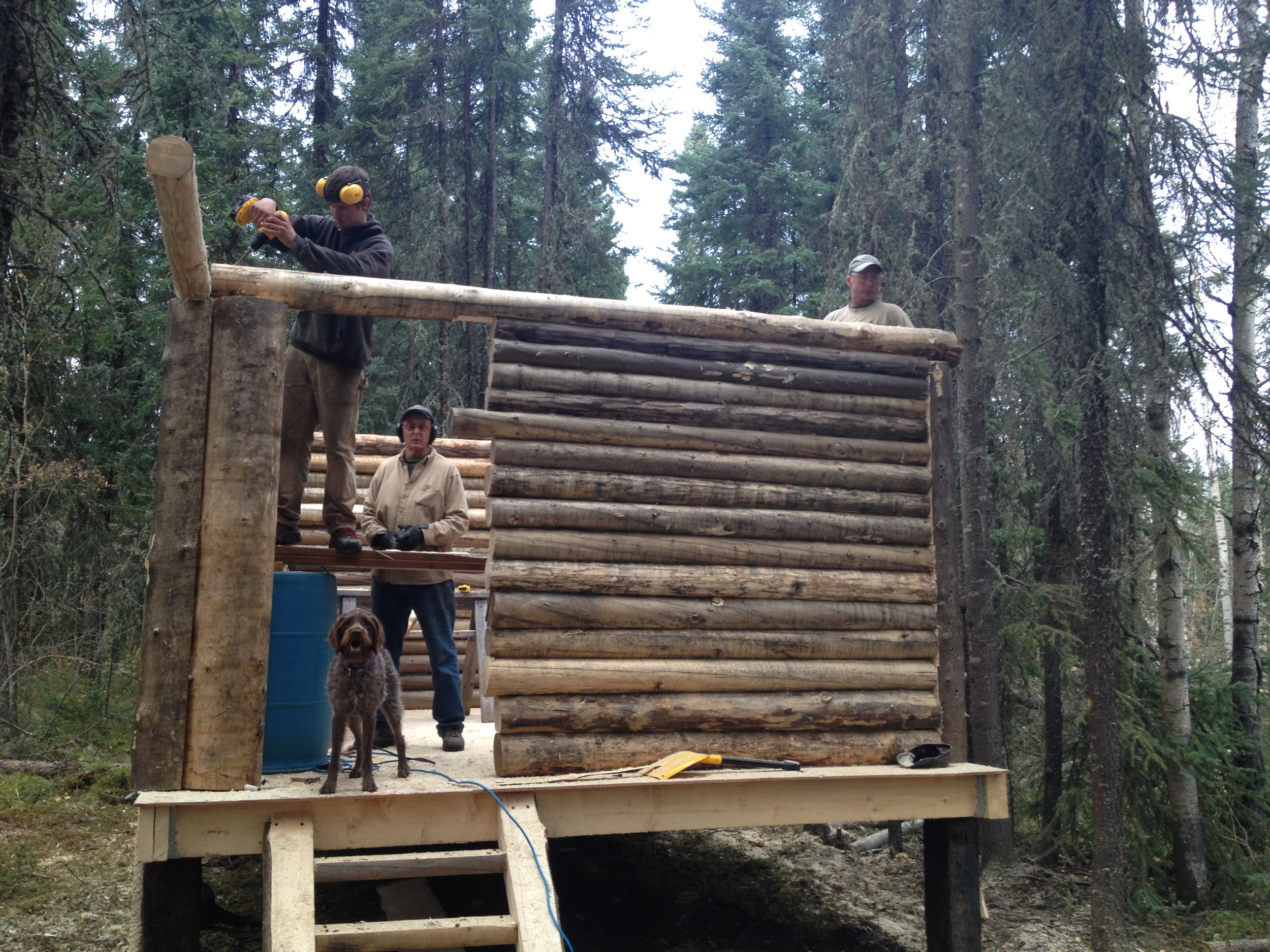 Derek, Rick, and Riley working on the cabin.