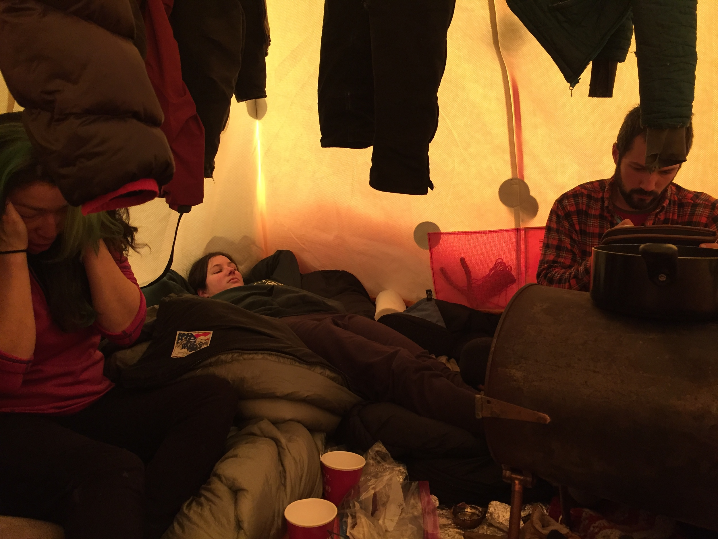Ryne and Nick relaxing in the tent.