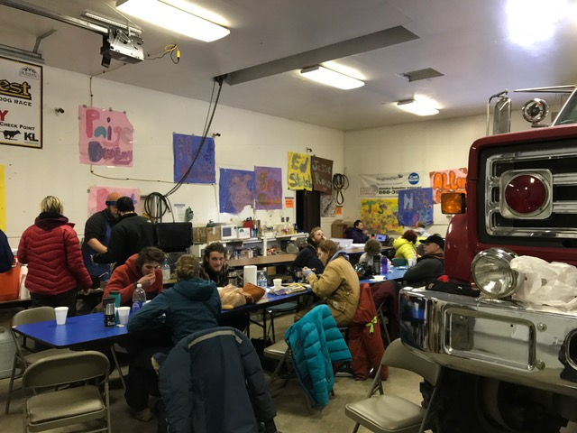 Firehouse in Circle opens their doors for the mushers, handlers, and media.