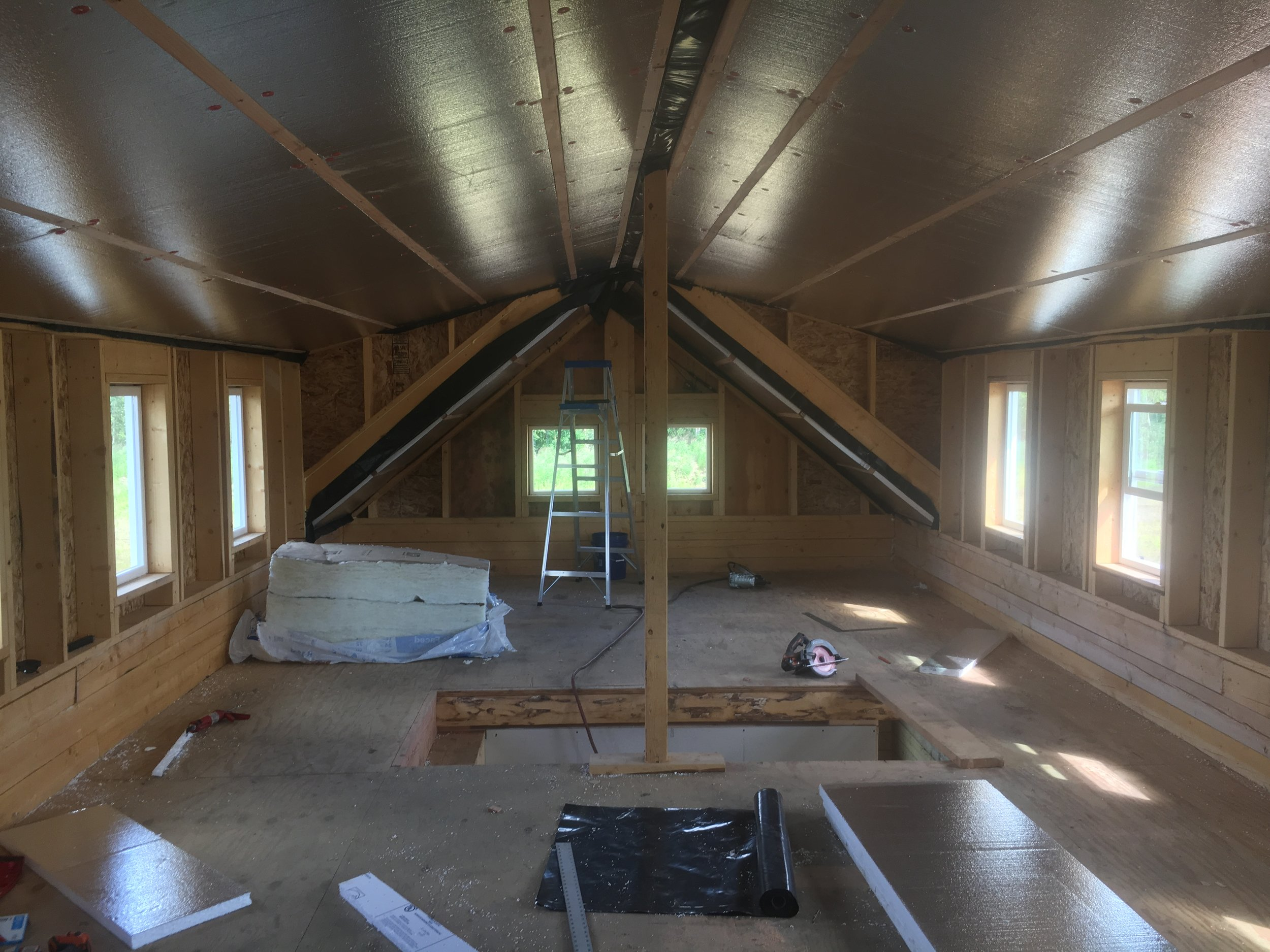 Insulating the roof.
