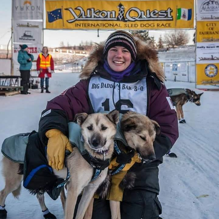 Fire and her son Ham at the finish of my rookie run- the 2015 Yukon Quest. Fire led the entire race.