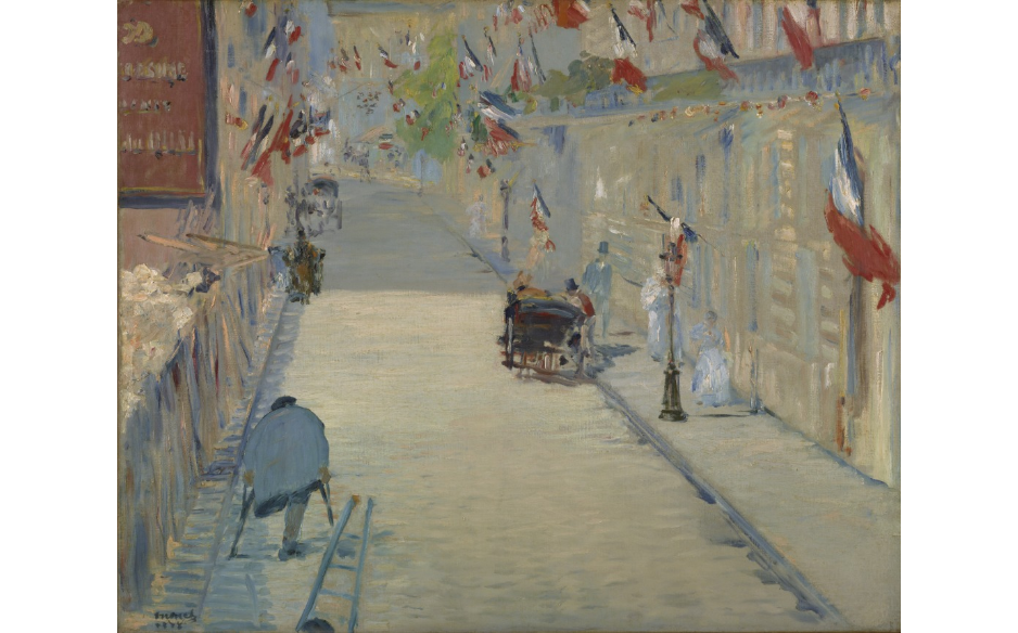 Manet - Rue Mosnier with flags (Click on image for info on Painting at Getty museum)