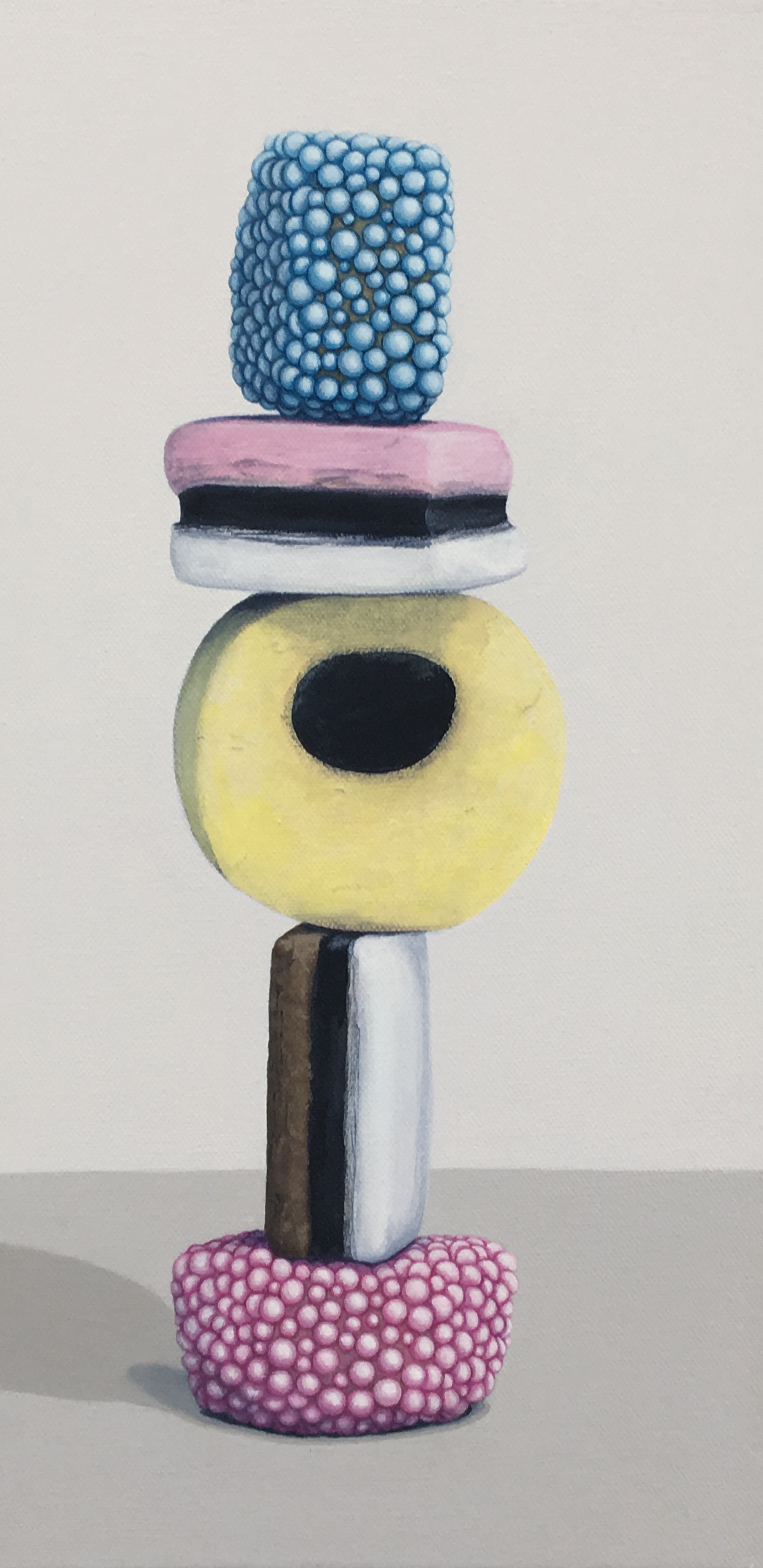 """Totem: Allsorts III   This enticing candy stacks is a delightful temptation. As a culture we are generally attracted to these charming colors and interesting shapes, but once the candy is experienced as a food there is often a mismatch between its attractiveness and its taste. This work explores the occurrence of the incongruity of appearance and experience.   Currently available through Simon Breitbard Fine Arts   http://sbfinearts.com ,  415-951-1969   8"""" x 16"""" gallery wrapped canvas  $400.00"""