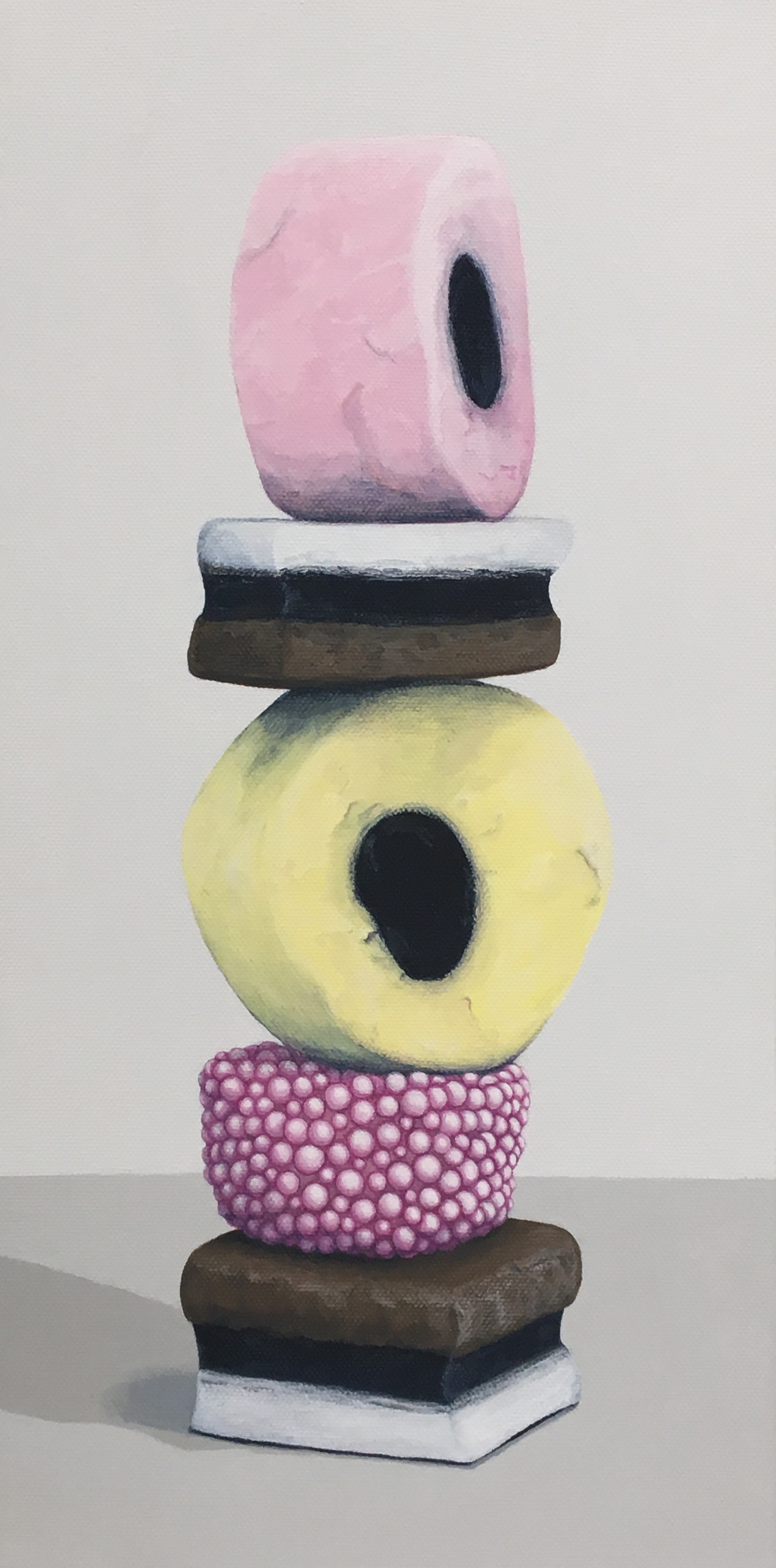 """Totem: Allsorts IV   This enticing candy stacks is a delightful temptation. As a culture we are generally attracted to these charming colors and interesting shapes, but once the candy is experienced as a food there is often a mismatch between its attractiveness and its taste. This work explores the occurrence of the incongruity of appearance and experience.   Currently available through Simon Breitbard Fine Arts   http://sbfinearts.com ,  415-951-1969   8"""" x 16"""" gallery wrapped canvas  $400.00"""