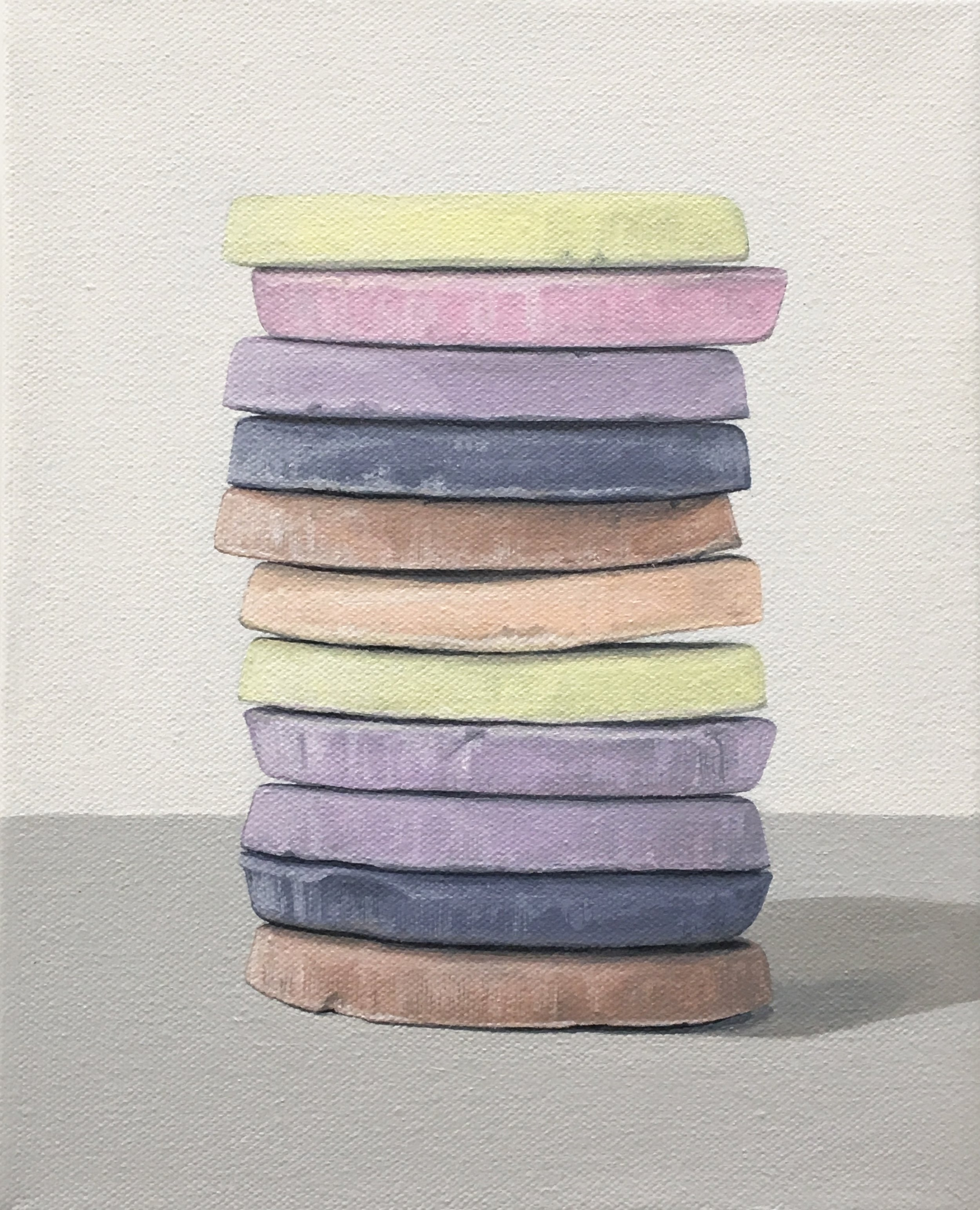 """Totem: Necco Wafer II  This little candy stacks is built from 'An American Classic' candy, the Necco Wafer. As a culture we are generally attracted to these charming colors, but once the candy is experienced as a food there is often a mismatch between its attractiveness and its taste. This work explores the occurrence of the incongruity of appearance and experience.  8"""" x 10"""" gallery wrapped canvas  $250.00"""