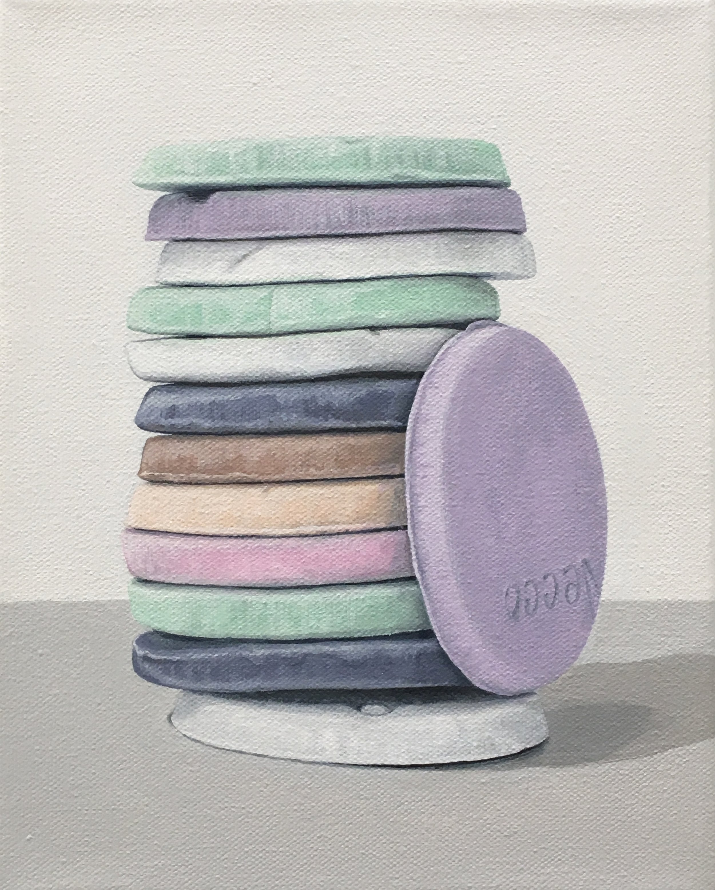 """Totem: Necco Wafer V  This little candy stacks is built from 'An American Classic' candy, the Necco Wafer. As a culture we are generally attracted to these charming colors, but once the candy is experienced as a food there is often a mismatch between its attractiveness and its taste. This work explores the occurrence of the incongruity of appearance and experience.  8"""" x 10"""" gallery wrapped canvas  $250.00"""