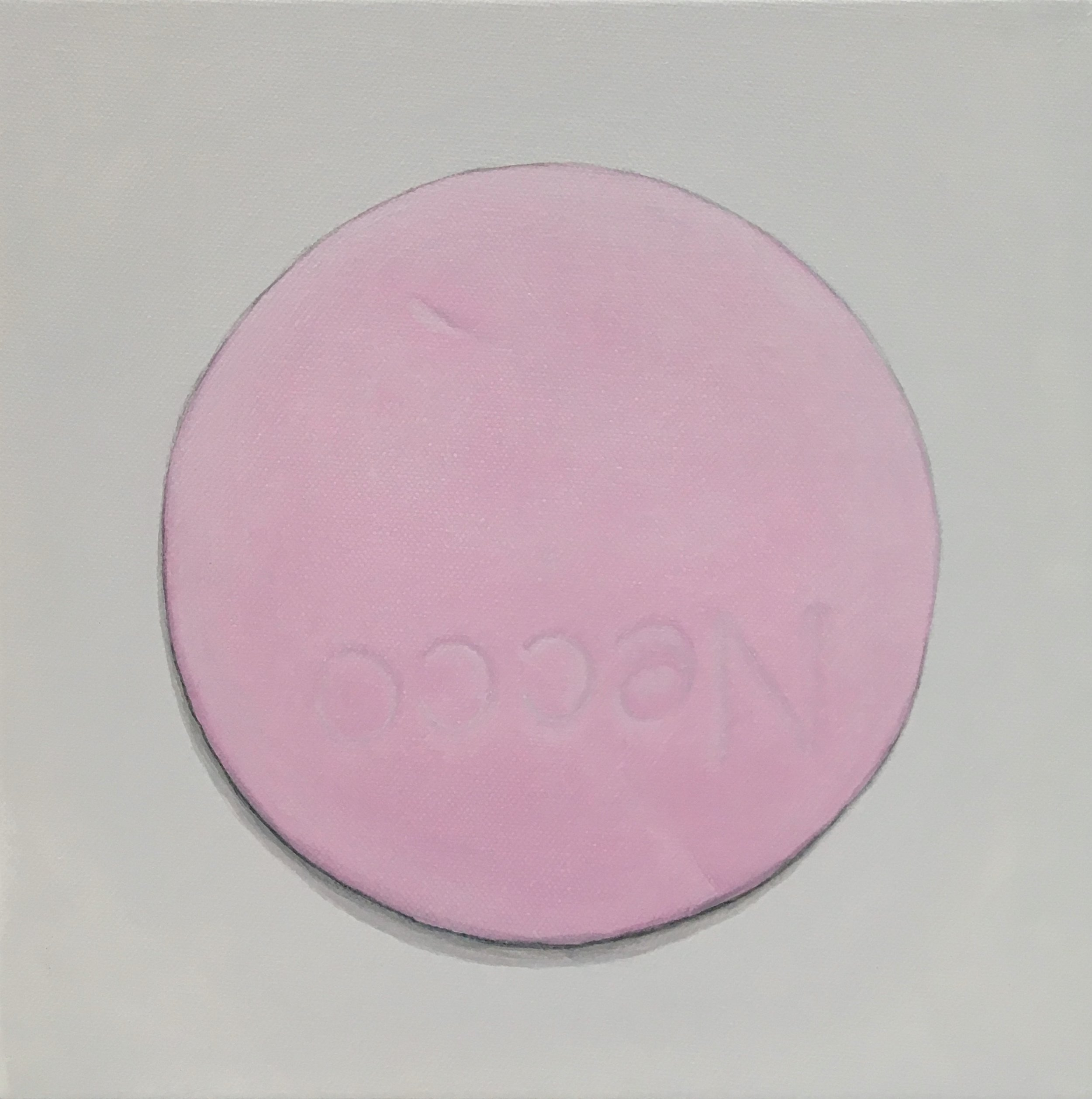 "Minimalist Necco: Wintergreen   A geometric abstraction of The Original Candy Wafer, an American Classic, the Necco Wafer, in wintergreen flavor.  Acrylic painting on 10"" x 10"" gallery wrapped canvas, ready to hang.  $310"