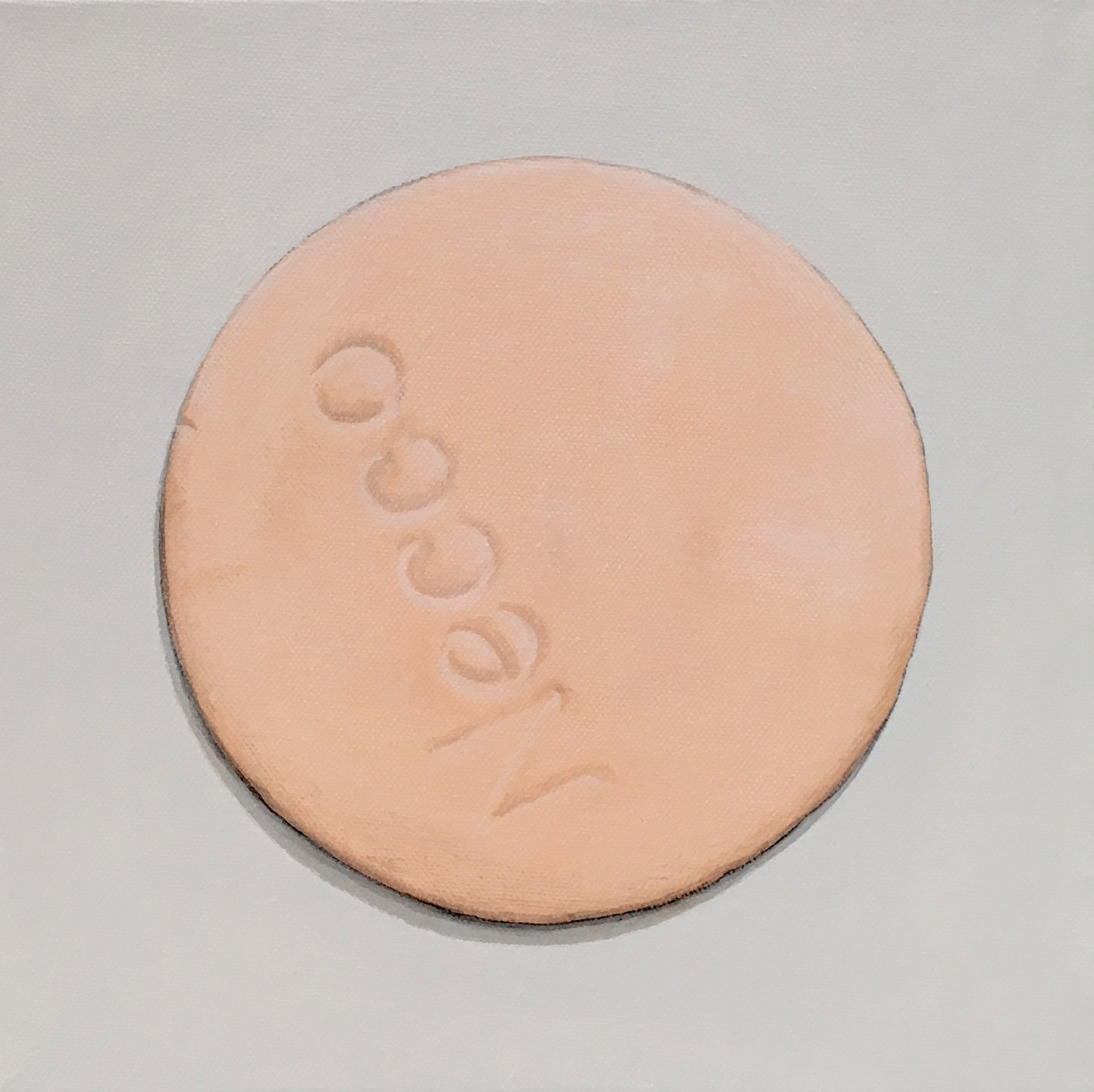 """Minimalist Neccos: Orange  A geometric abstraction of The Original Candy Wafer, an American Classic, the Necco Wafer, in orange flavor.  Acrylic painting on 10"""" x 10"""" gallery wrapped canvas, ready to hang.  $310"""