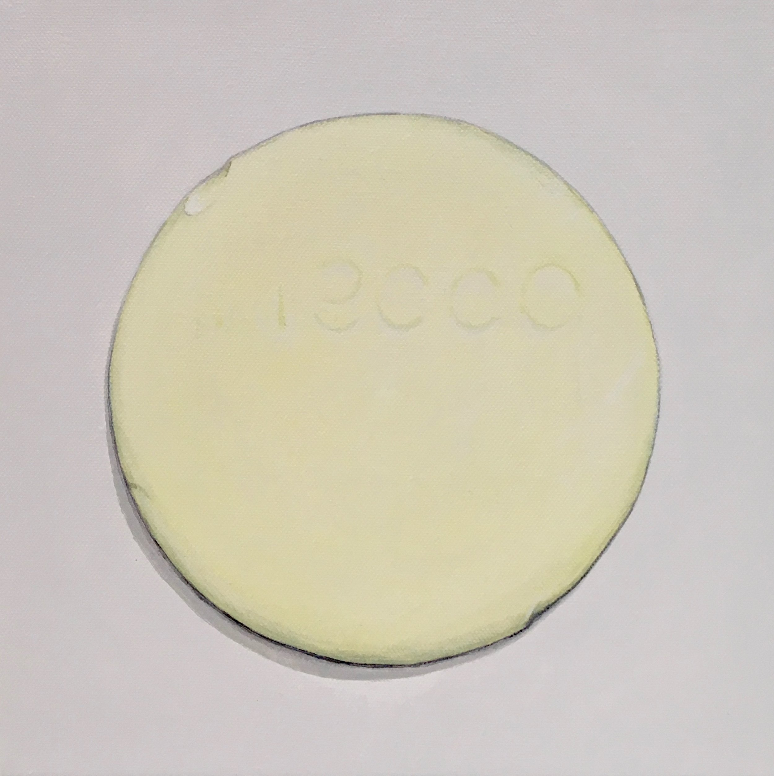 """Minimalist Neccos: Lemon  A geometric abstraction of The Original Candy Wafer, an American Classic, the Necco Wafer, in lemon flavor.  Acrylic painting on 10"""" x 10"""" gallery wrapped canvas, ready to hang.  $310"""