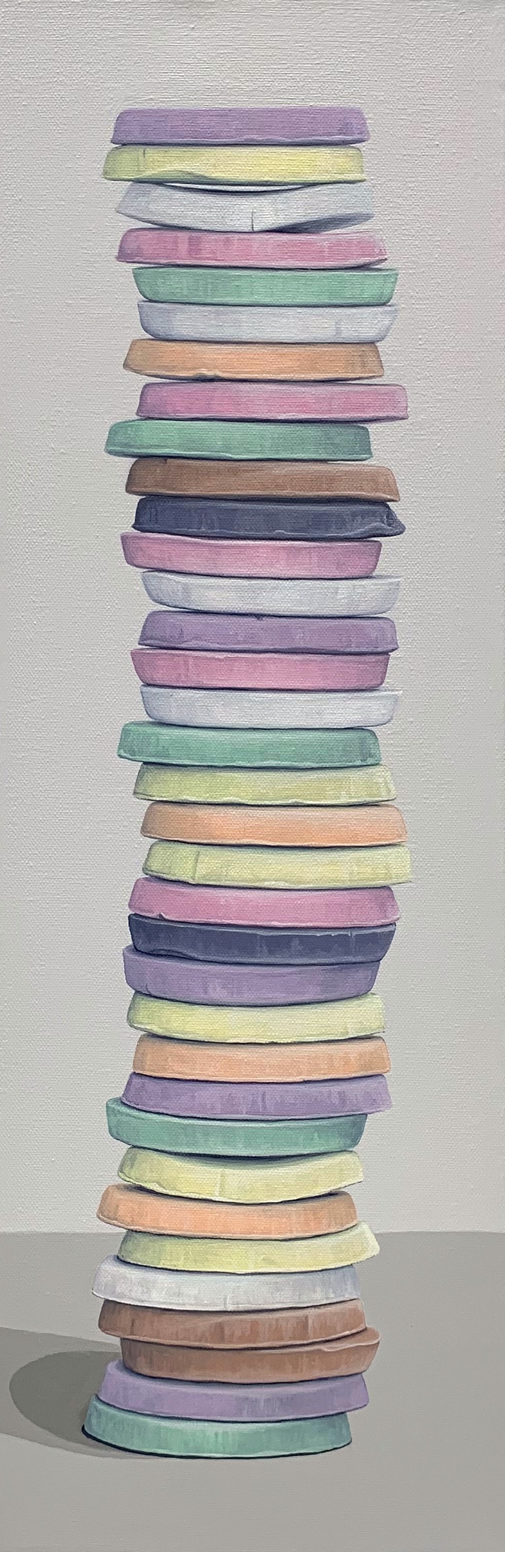 "Totem: Wafers  This wafer candy stack is built from 'An American Classic' candy, the Necco Wafer and is a full roll of 35 wafers. Stacks of deliciousness or cultural comment?  8"" x 24"" gallery wrapped canvas  $600.00"