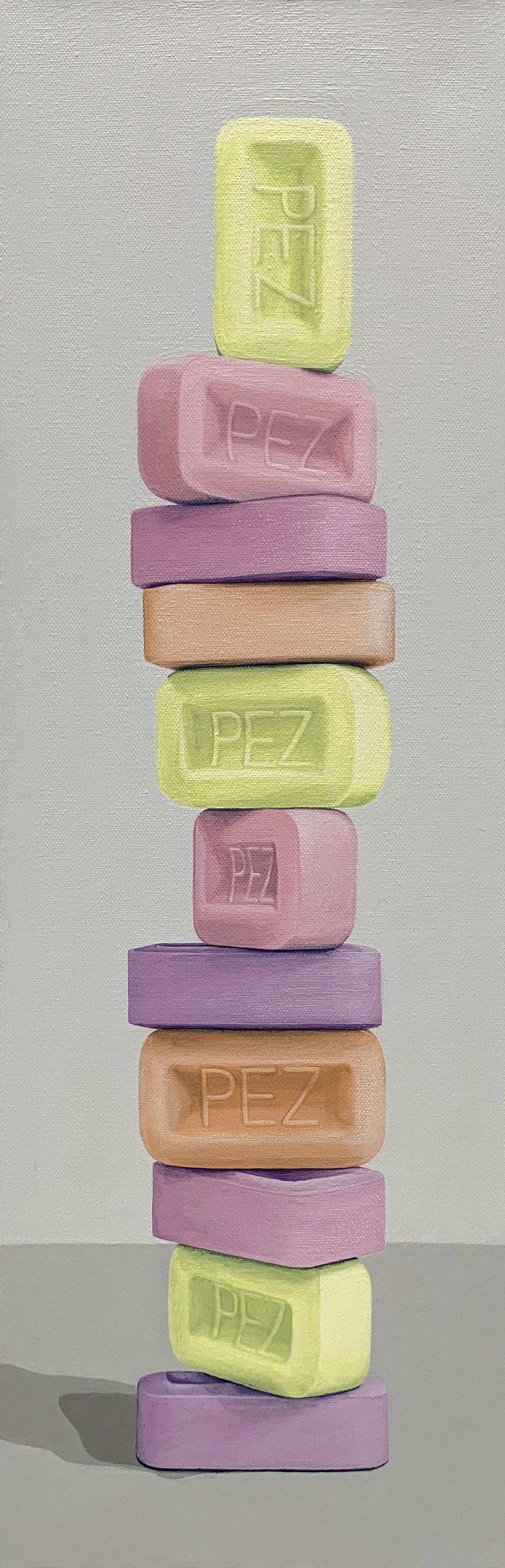 "Totem: Eleven [PEZ]  This architectural stack of PEZ blocks is a towering testament to the awesome allure of candy! Stacks of deliciousness or cultural comment?  8"" x 24"" gallery wrapped canvas  $600.00"