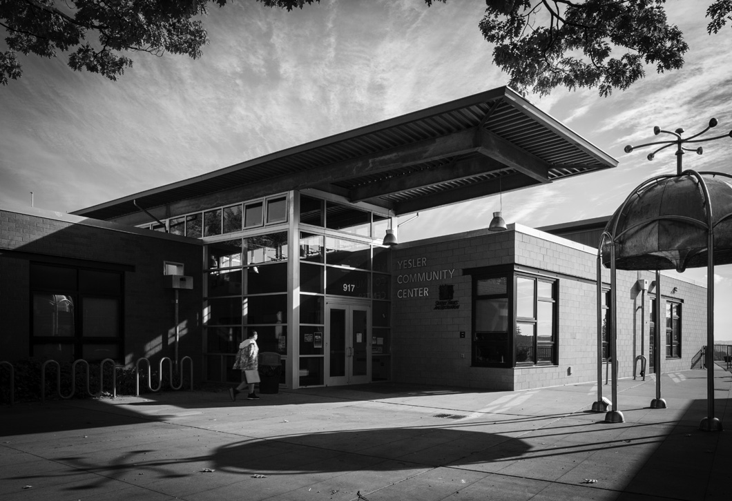 The entrance of Yesler Community Center, location of our afternoon workshops.