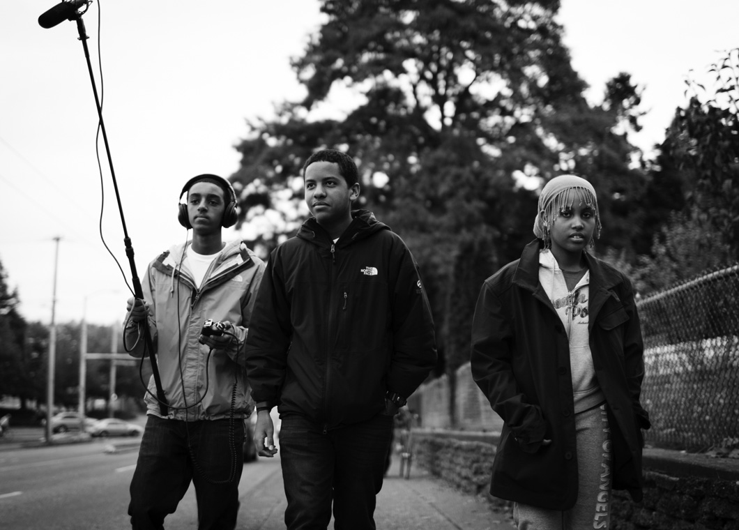 Natty, Nebiyou, and Keristian hit the streets recording ambient sounds in Yesler Terrace.