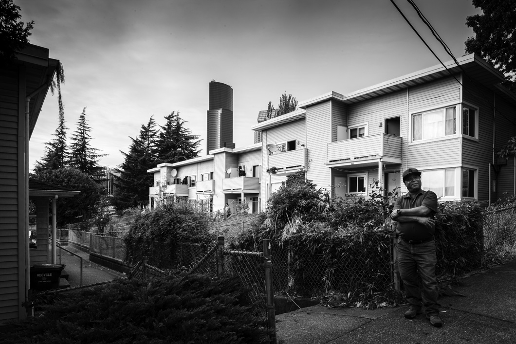 Yesler Terrace is the oldest public housing community in Seattle and one of the first racially integrated in the nation. It will soon be demolished in the coming years. Many units like this one have massive communal garden terraces.