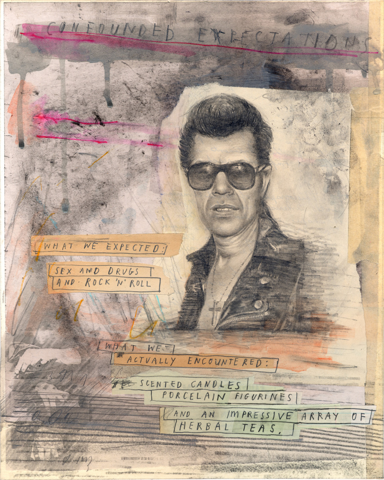 'The Shadow Knows'    15 x 12 inches, mixed media on card, mounted on wood. 2016.   (and if anyone's interested, that's rockabilly guitar legend  Link Wray .)
