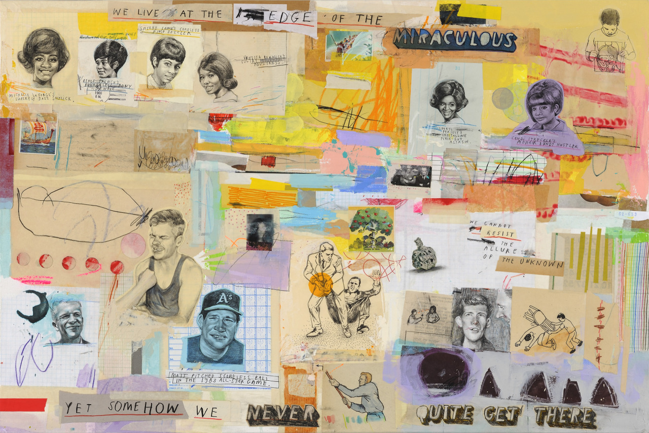 'The Trouble with Unlimited Possibilities'  Now appearing in 'Things That Happened and Things We Made Up' at The Compound Gallery in Oakland, CA.   Mixed media on canvas, 24 inches x 36 inches 2013.