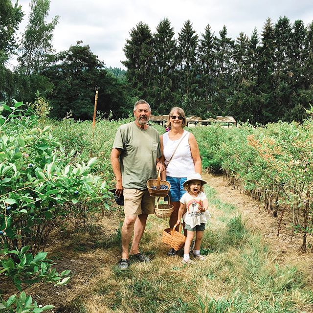 The best little blueberry farm with Grandma & Grandpa.