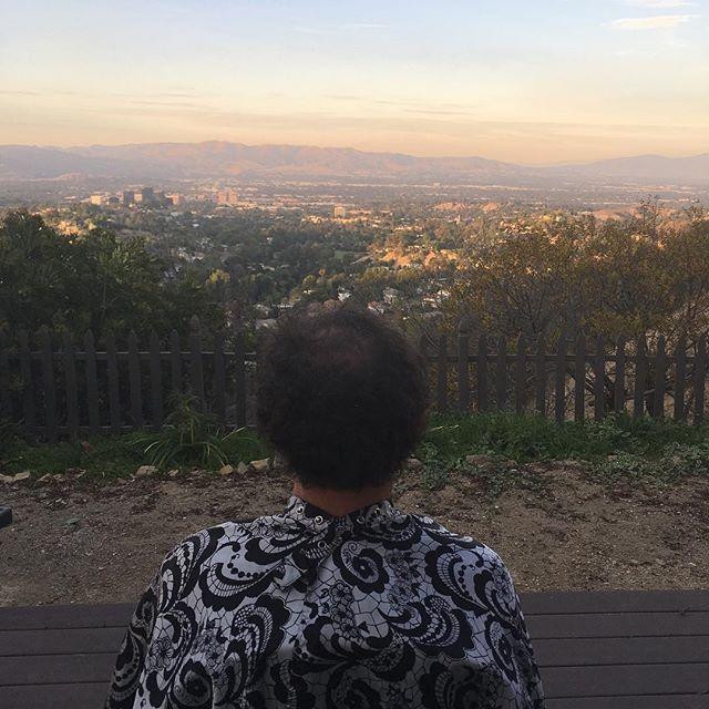 Loving the outdoor views from the traveling salon during the evacuation. #topanga #losangeles #woolseyfire #hairsalon
