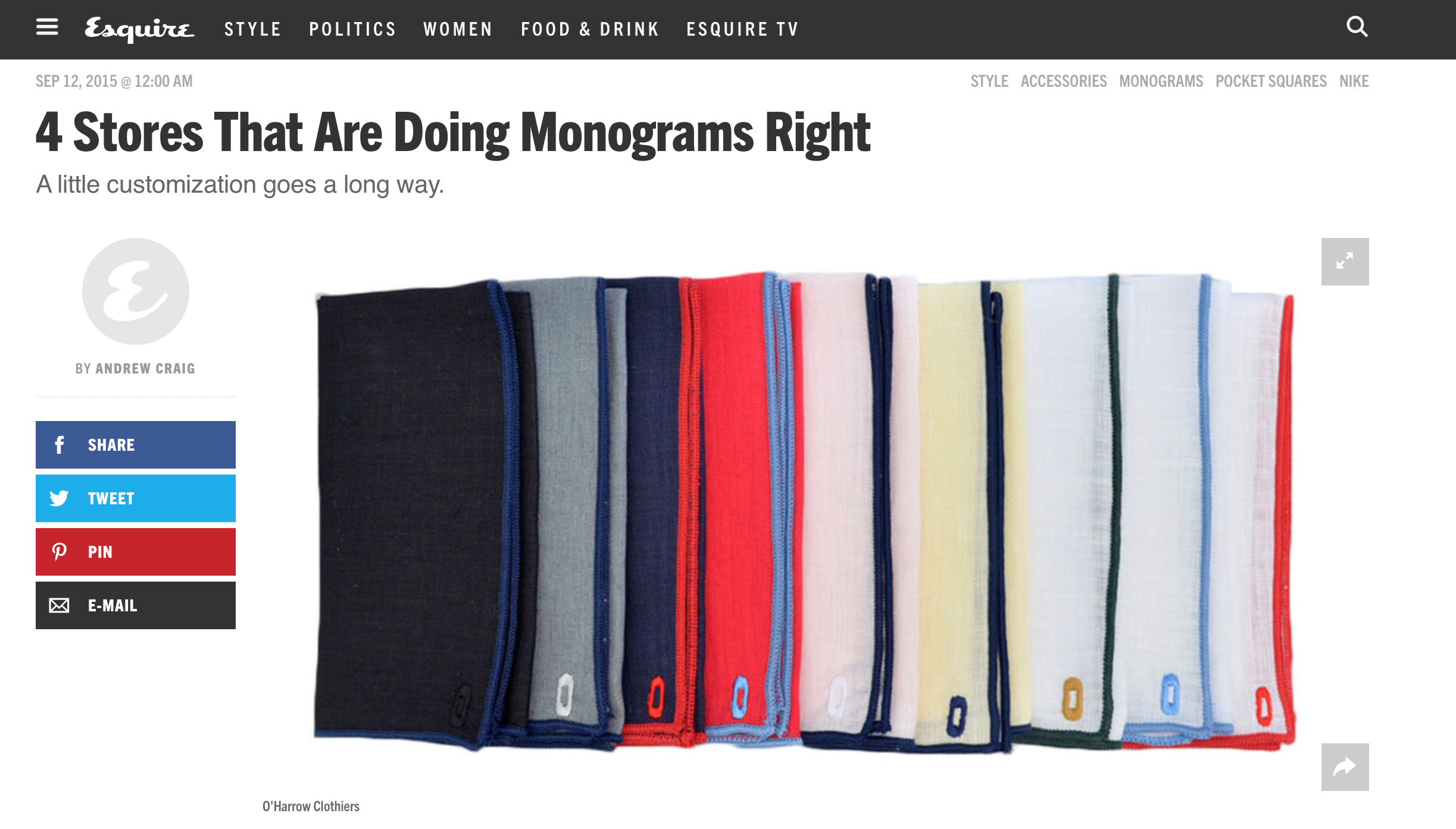 Read the complete article here: http://www.esquire.com/style/mens-accessories/a37634/best-stores-for-monograms/