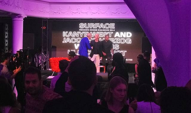 Hans Ulrich Obrist, Jacques Herzog, and Kanye West  (Photo by Janelle Zara)