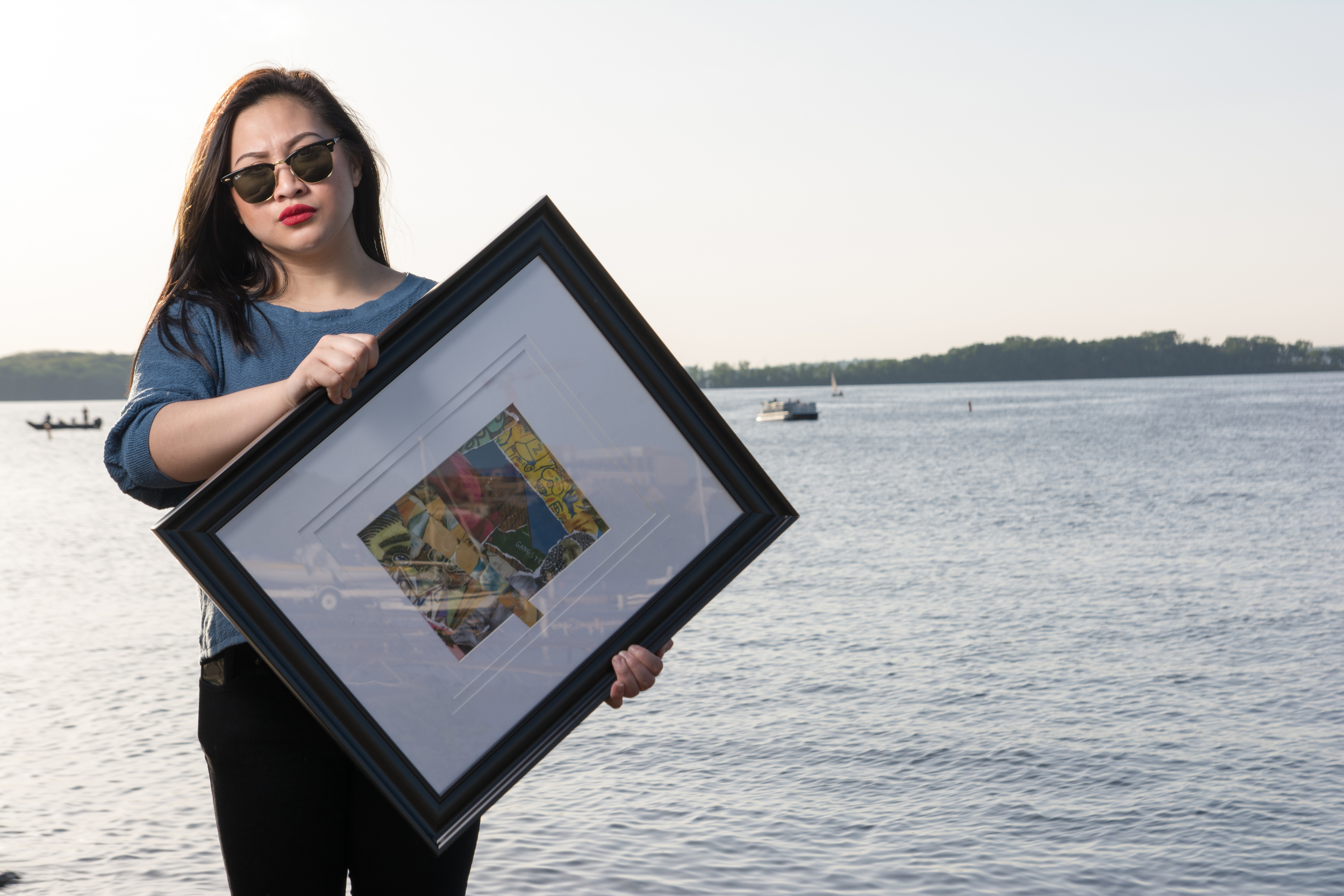 """UW Madison First Wave Scholar,   GretchenCarvajal , shows off her artistic representation of """"Picasso Baby"""" by Jay Z. Photo by: Bradlee Berrtam and Michael Ford"""