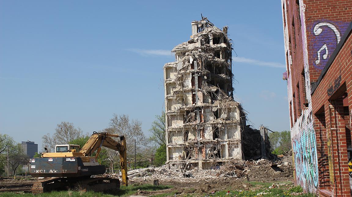 Brewster Housing during demolition in Detroit, Michigan. Photo by  GB Cortez McGhee