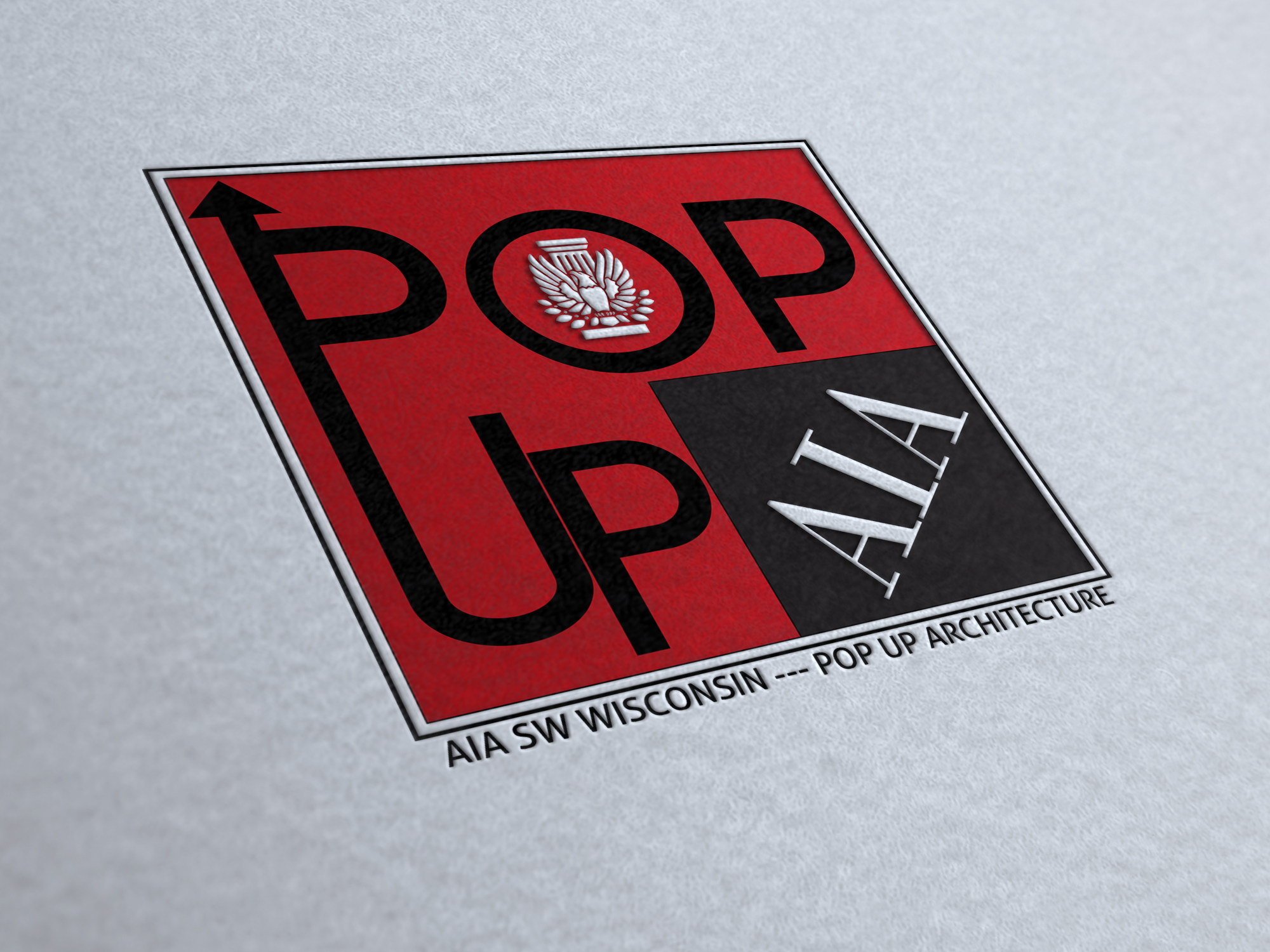 Winning logo created by Michael Ford for AIA Wisconsin's Pop Up Logo Contest.