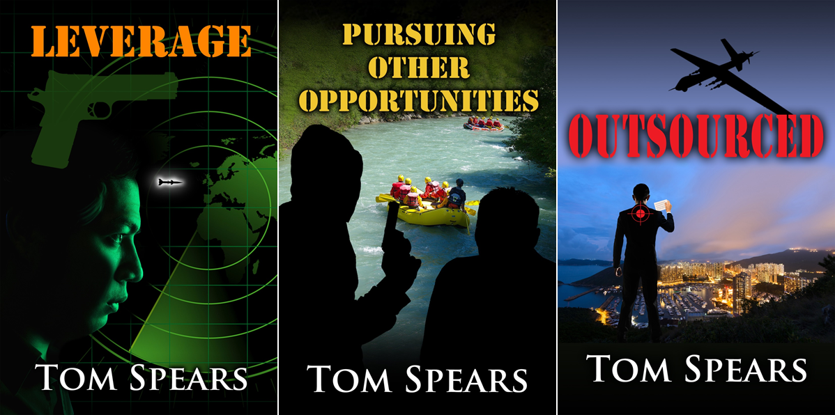 """These are the three novels in my """"Carson Trilogy."""" Click on the image to get a description of LEVERAGE, the first book in the series."""